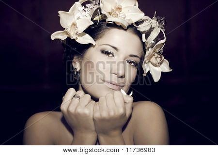 Fashion Portrait Of Young Beautiful Woman With  Hairstyle