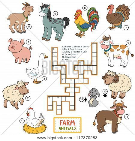 Vector Color Crossword About Farm Animals
