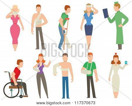 Trauma accident and  human body safety vector people silhouette