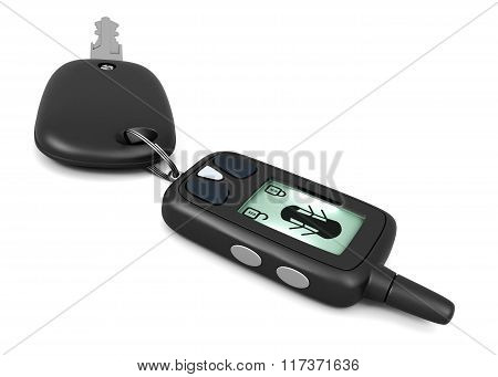 Car alarm remote control and key isolated on white background. 3