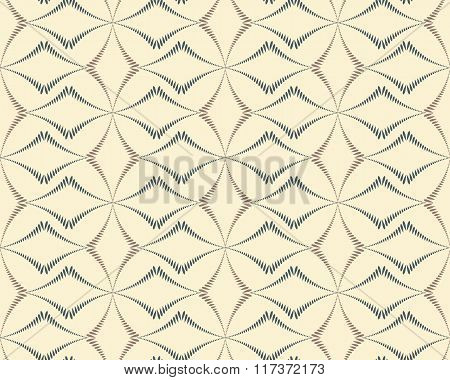 Seamless geometric abstract pattern. Diagonal rhomb shaped, braiding figure texture. Unusual rhombus bands, lines on light background. Soft white, gray, brown colors. Vector poster