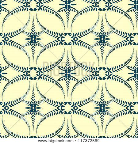 Seamless laurel wreath pattern. Swirl ornament with cross on light background. Vintage lace texture.