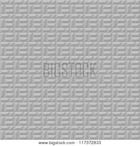 Seamless geometric convex pattern. Pyramidal, trapezoidal texture. Volumetric gray simple background