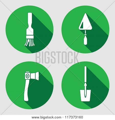 Tool icon set. Brush, trowel, spattle, surfacer, axe, hache, shovel, spade. Work, job, labour, toil, repair, fix, plane, building symbol. White sign on round green button with long shadow. Vector isolated poster