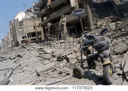 Beirut under Bombing in Lebanon