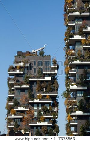 MILAN, ITALY - NOVEMBER 7, 2015: Bosco Verticale (Vertical Forest) residential towers in the Porta Nuova district in Milan, Lombardy, Italy.