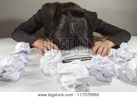 Stressed Business Woman Make A Mistake With Chewed Paper - Night Overtime Work