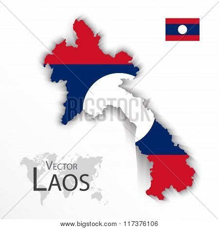 Laos ( People 's Democratic Republic Of Laos ) ( Map And Flag )