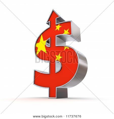 Dollar Symbol Arrow Up - Chinese Flag Texture