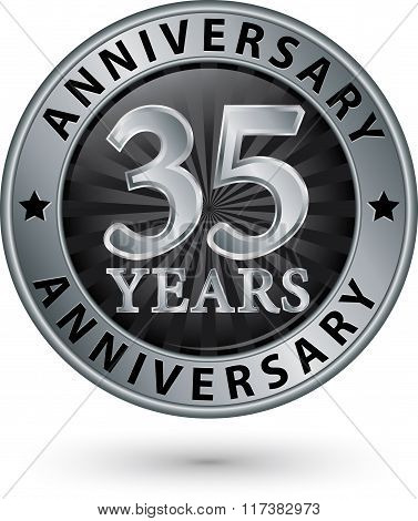 35 Years Anniversary Silver Label, Vector Illustration
