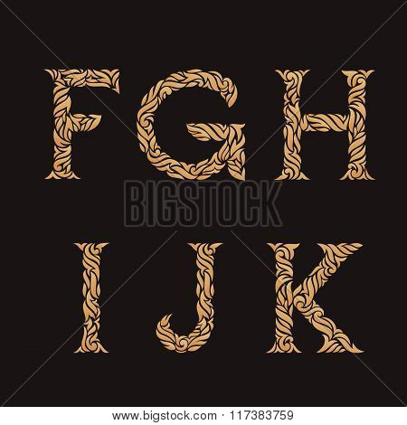 Decorative Initial Letters. Ornate golden monograms.
