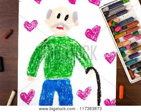 Photo of a colorful drawing: grandfather's day card