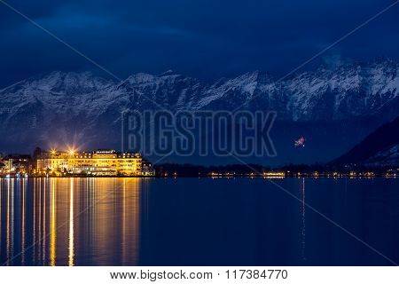 ZELL AM SEE, AUSTRIA - JANUARY 05, 2016 - Grand Hotel in front of Steinernes Meer (