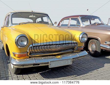 Retrocar Of 1960S Sedan Yellow Color