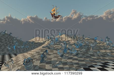 Sailing ship floats on clouds above chessboard desert