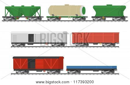 Essential Trains. Collection of freight railway cars.