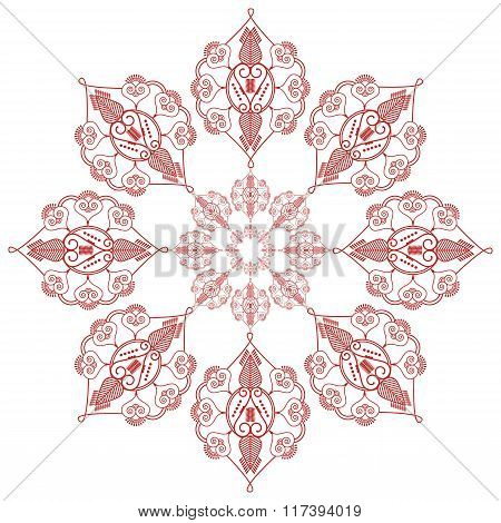 Asian culture inspired  wedding makeup mandala henna tattoo decoration flower shape   in  red