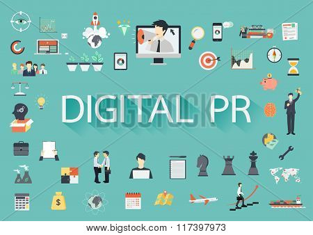 Digital Pr With Flat Icons