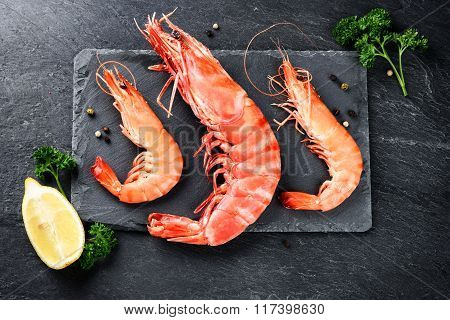 Fine Selection Of Jumbo Shrimps For Dinner On Stone Plate