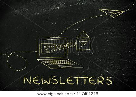 Email Coming Out Of A Computer Screen With A Spring, With Text Newsletters