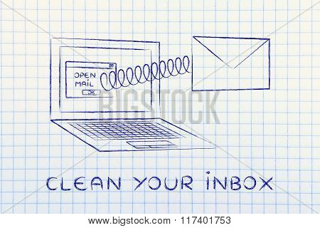 Email Coming Out Of A Computer With A Spring & Stop Sign, With Text Clean Your Inbox