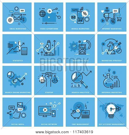 Set of thin line concept icons of marketing