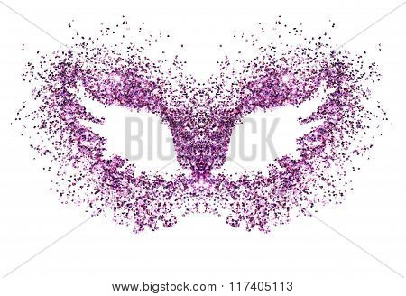 Abstract wings of purple glitter on white background