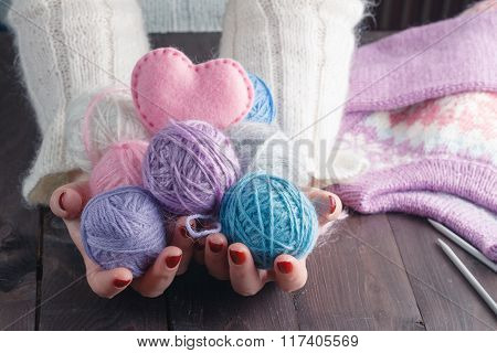 Woman Holding Many Colorful Yarn Clews. Concept Of Freelance Creative Working And Living