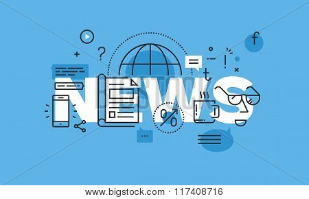 Thin line flat design word banner for news web page