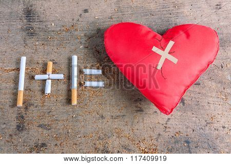 Diseased heart. Antismoking background. Stop smoking