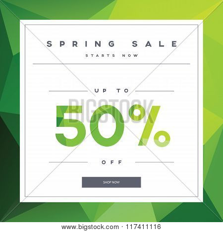 Spring sale banner on green low poly background with elegant typography for luxury sales offers in f