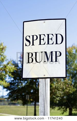 White Speed Bump Sign