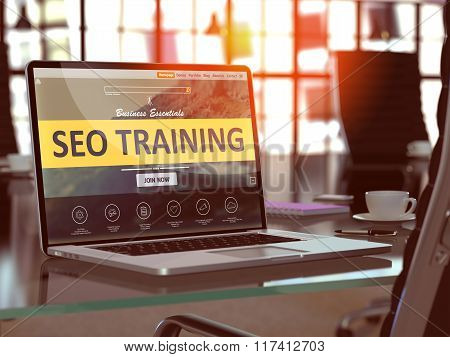 SEO Training Concept on Laptop Screen.