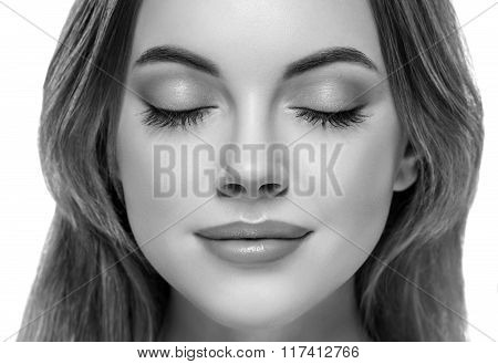 Closed Woman Eyes Nose Studio Black And White