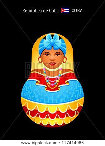 Matryoshkas of the World: cheerful Cuban girl.  Near a flag is an official country name written in English and Spanish.