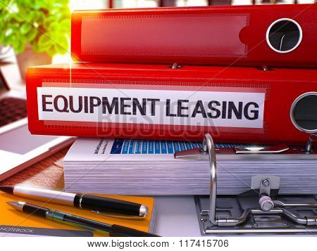Red Office Folder with Inscription Equipment Leasing