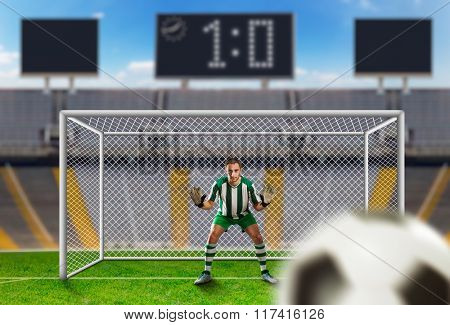 Goalkeeper on the field