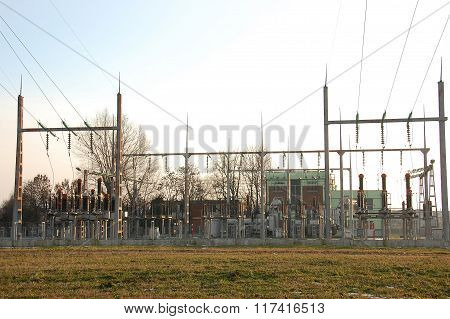 City electrical power transformers in high voltage substation. poster