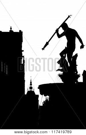 Black-and-white silhouette of Neptune Fountain in Gdansk