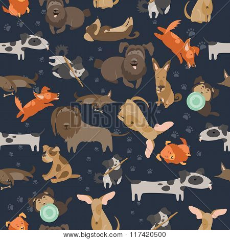 Cartoon dogs seamless pattern