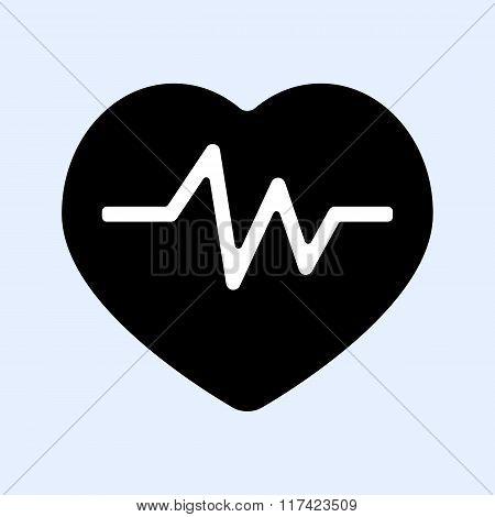 Heartbeat Icon, Electrocardiogram Black  Icon