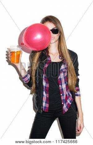 Modern teenage girl with glass of beer