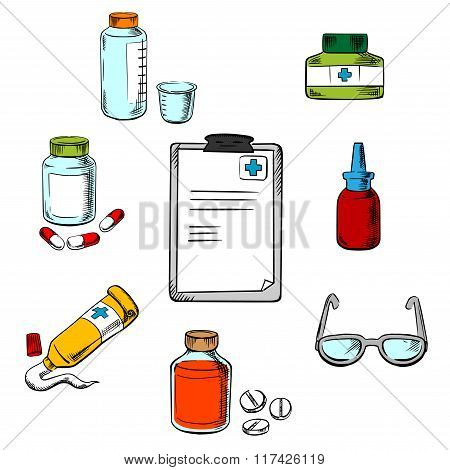 Prescription and medical objects icons