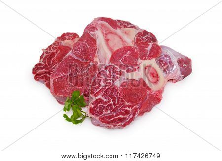 Fresh raw meat. Gammon steak slices isolated on a white background
