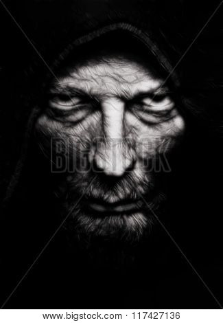 Scary evil wrinkled man over black