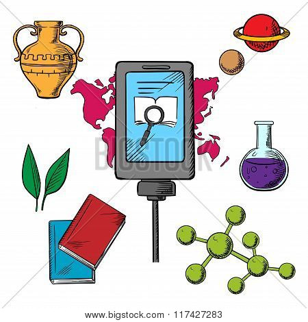 History and biology science icons