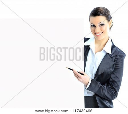 Nice business woman with a white banner.