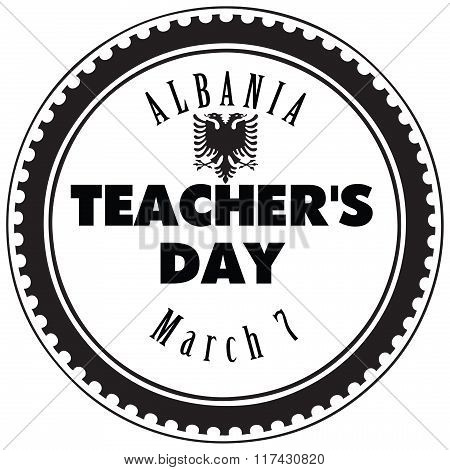 The symbol of the national holiday of Albania on 7 March. Teacher's Day in Albania. poster
