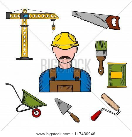 Builder and construction tools icons