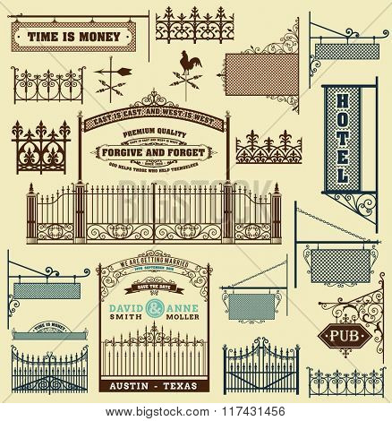 wrought iron wicket, fence and gates grilles isolated